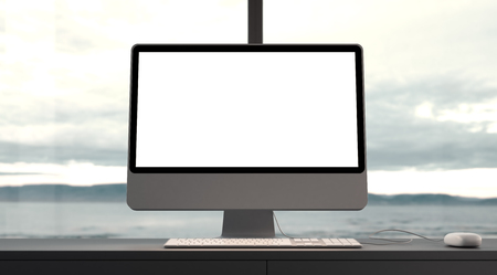 window frame: Generic design computer and workspace. Big windows and panoramic view on the epic sunset on the background.