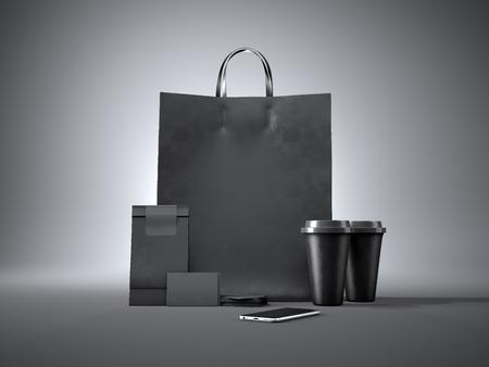paper craft: Conjunto de bolso negro de compras, dos tazas de café, tarjetas de visita negras y el teléfono inteligente diseño genérico. Fondo oscuro