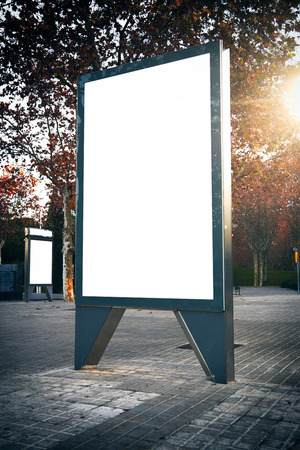Blank lightbox on the street of the city. Vertical