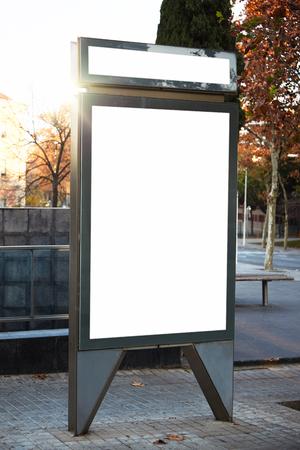 lightbox: Blank lightbox on the street of the city. Vertical