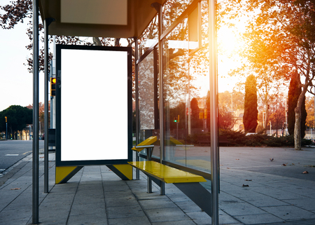 Empty billboard on the bus stop. Horizontal