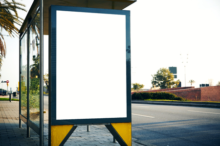 Blank lightbox on the bus stop in the city. Horizontal