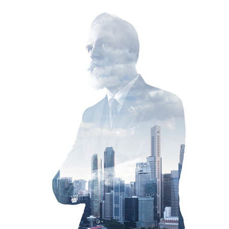 gentleman: Close-up portrait of gentleman. Photo of double exposure of panoramic city view at sunrise