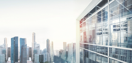 businessman suit: Panoramic view on the city of skyscrapers. Visual effects