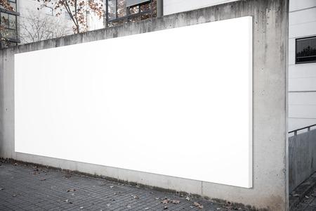 billboard blank: Empty billboard screen on the concrete gray background.  Horizontal