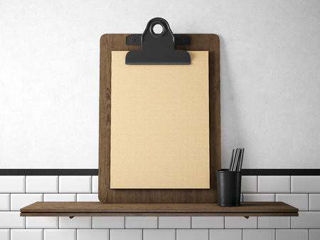 wood craft: Set of blank craft tablet  on the wood bookshelf. Horizontal