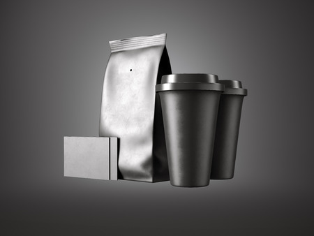 plactic: Set of black paper package, coffee cups and two blank business cards. Black background, front view.
