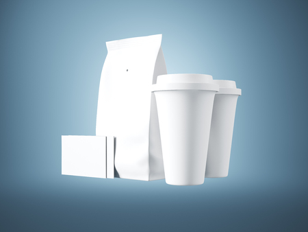 plactic: Set of white paper package, coffee cups and two blank business cards. Blue background.