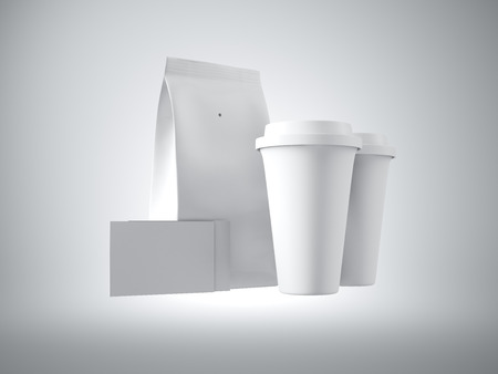 take away: Set of white blank take away bag, coffee cups and two blank business card. White background. Stock Photo