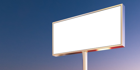 billboard background: Blank billboard made of chrome metal at sunset time ready for new advertisement. Wide, abstract background.