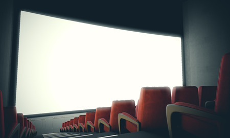 red chair: Empty cinema screen with red seats. Ready for adding your for advertisement. With color filter, wide
