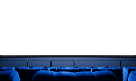 Empty cinema screen with blue seats. Ready for adding your for advertisement.