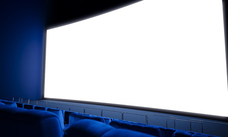 blank screen: Empty cinema screen with blue seats. Ready for adding your for advertisement. Wide Stock Photo