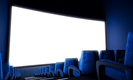 Leere Kinoleinwand mit blauen Sitzen. Bereiten Sie für Ihre Werbung für das Hinzufügen. Breit