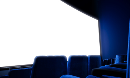 blank screen: Closeup of empty cinema screen with blue seats. Ready for adding your for advertisement. Wide Stock Photo