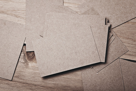 wood craft: Close up of blank and craft business cards on natural wood table. Horizontal Stock Photo