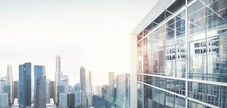 高層ビルの街のパノラマの景色。視覚効果 写真素材