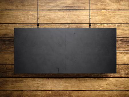 Foto de la lona de la vendimia en blanco que cuelgan en el fondo de madera. Foto de archivo - 52904945