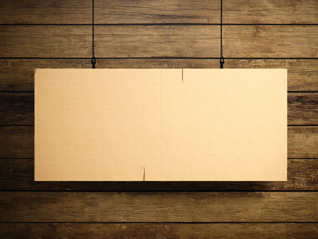 billboards: Photo of blank vintage canvas hanging on the wood background. Stock Photo