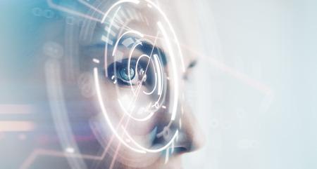 and future vision: Primer de la mujer con los ojos de efectos visuales, aislado en fondo blanco. Horizontal, amplia