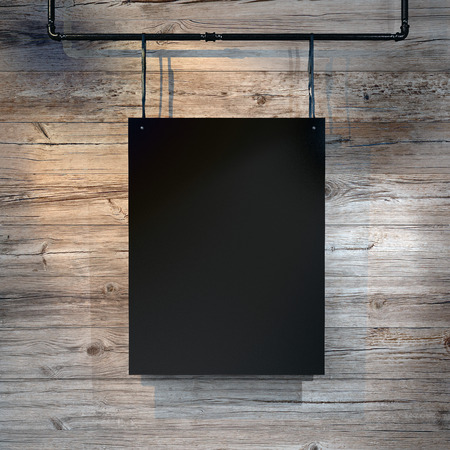 Photo of blank black canvas hanging on the natural wood background. Square