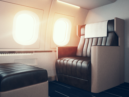 first class: Photo of luxury airplane interior. Blank digital panel holding.
