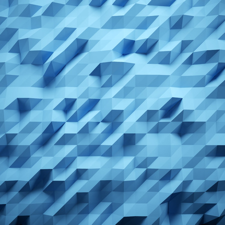 Photo of highly detailed multicolor polygon. Blue geometric rumpled triangular low poly style. Abstract gradient graphic background. Square. Stock Photo