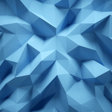 Photo of highly detailed multicolor polygon. Blue geometric rumpled triangular low poly style. Abstract gradient graphic background. Square.