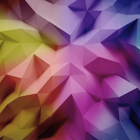 graphic background: Photo of highly detailed multicolor polygon. Geometric rumpled triangular low poly style. Abstract gradient graphic background. Square.