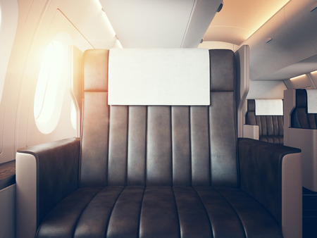 first plane: Photo of luxury airplane interior. Blank digital panel holding.