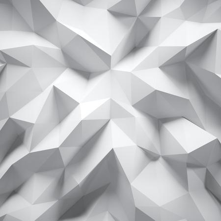 非常に詳細な多色多角形の写真。白の幾何学的なしわくちゃ三角形の低ポリ スタイルです。背景グラデーション グラフィック。正方形します。 写真素材