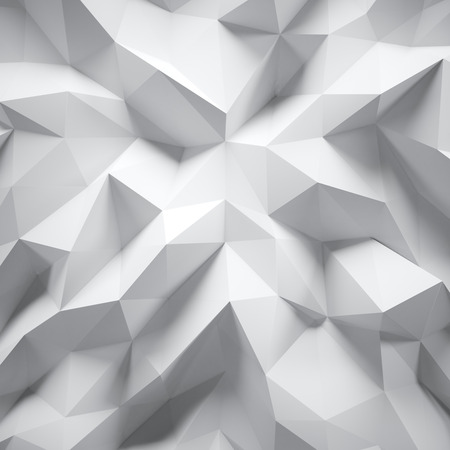 Photo of highly detailed multicolor polygon. White geometric rumpled triangular low poly style. Abstract gradient graphic background. Square.
