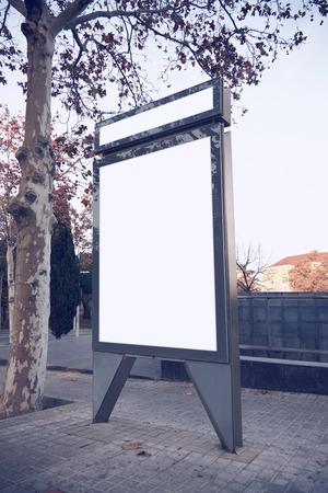 lightbox: Photo empty lightbox on the bus stop. Vertical