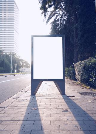 lightbox: Photo empty lightbox on the bus stop. Vertical, sunlight Stock Photo