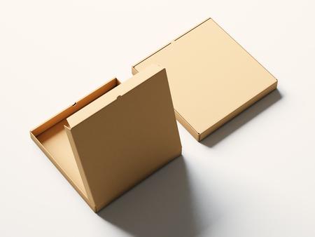 pizza box: cuadro en blanco de pizza abierto de papel del arte en el fondo blanco. maqueta horizontal