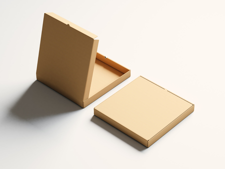 pizza box: Blank craft paper open pizza box on white background. Horizontal mockup