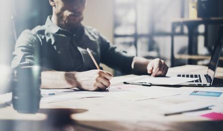 notebook design: Photo businessman working with generic design notebook. horizontal Stock Photo