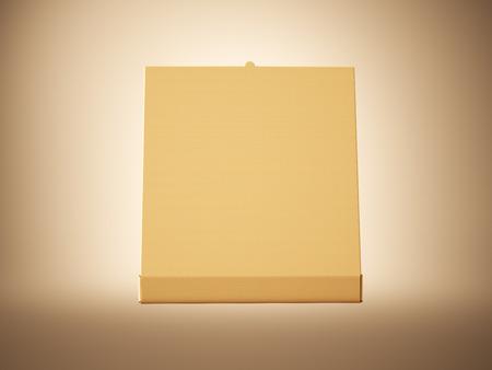 pizza box: caja vacía de pizza abierto de papel del arte en el fondo blanc. maqueta horizontal Foto de archivo