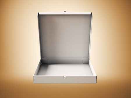 negocios comida: caja vacía de pizza abierto cartón blanco sobre fondo abstracto. maqueta horizontal Foto de archivo