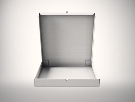 pizza box: Empty white carton open pizza box on abstract background. Horizontal mockup Stock Photo