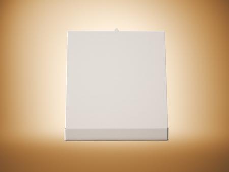 pizza box: Empty white paper open pizza box on blank background. Horizontal mockup. Stock Photo