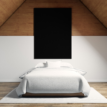 moder: Photo of moder bedroom in chale house. Empty black canvas hanging on the wood wall and classic double bed wood floor.