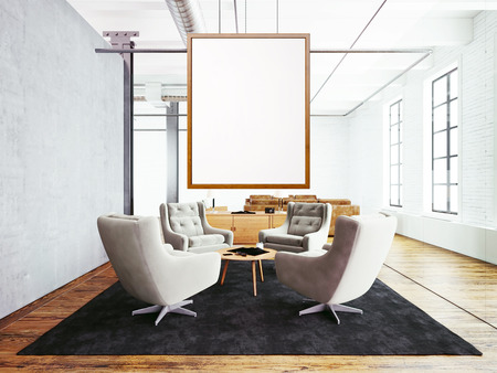 empty frame: Photo of meeting room interior in modern loft building. Empty white canvas hanging on the wood frame. Wood floor, table, furniture, concrete wall. Horizontal, blank mockup.
