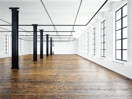 Photo of empty expo interior in modern  building.Open space loft. Empty white walls. Wood floor, black beams,big windows. Horizontal, blank mockup Stock Photo