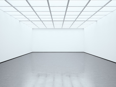 Photo blank white empty room contemporary gallery. Modern open space expo with concrete floor. Place for business information.
