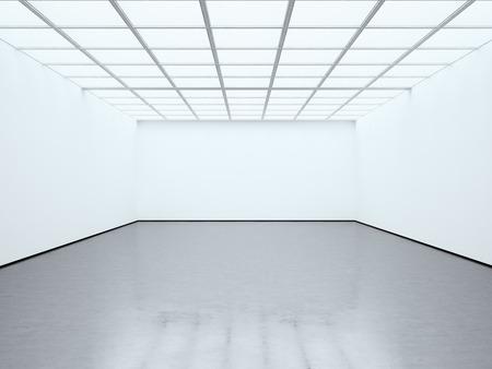 Galeria contemporânea da sala vazia branca em branco da foto. Expo moderna de espaço aberto com piso de concreto. Local para informações comerciais.
