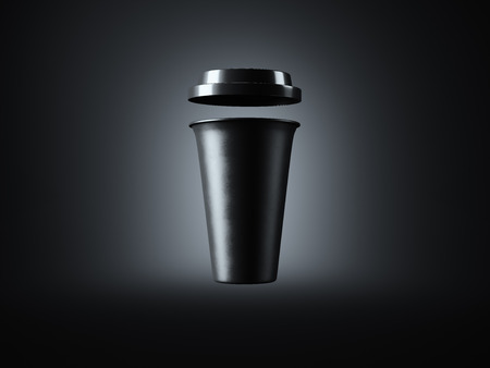 take away: Photo black plastic take away coffee cup. Isolated on the dark background. Ready for business info. Front view. Horizontal mockup. Stock Photo
