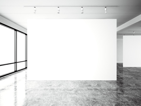 Picture exposition modern gallery,open space.Blank white empty canvas contemporary industrial place.Simply interior loft style with concrete floor,panoramic windows.