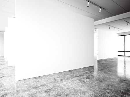 concrete floor: Exposition modern gallery,open space. Blank white empty canvas contemporary industrial place.Simply interior loft style with concrete floor,panoramic windows