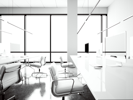 modern design: Photo of modern workspace loft with panoramic windows.Generic design computers and generic white armchairs in contemporary conference room meeting.Open space office for coworking.